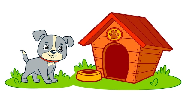 Historieta linda de la casa del perro. ilustración de vector de imágenes prediseñadas de perrera de perro