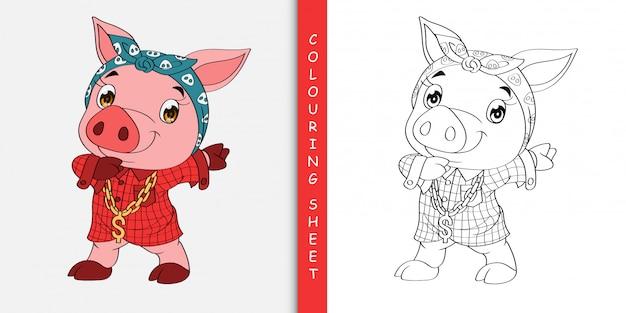 Historieta linda del cerdo que frota, hoja para colorear