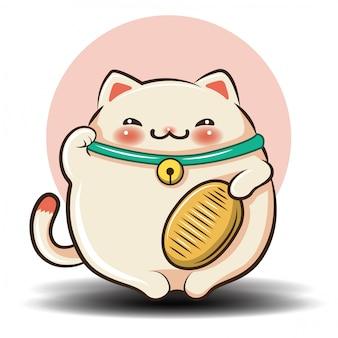Historieta linda del gato., concepto de la tienda de animales.