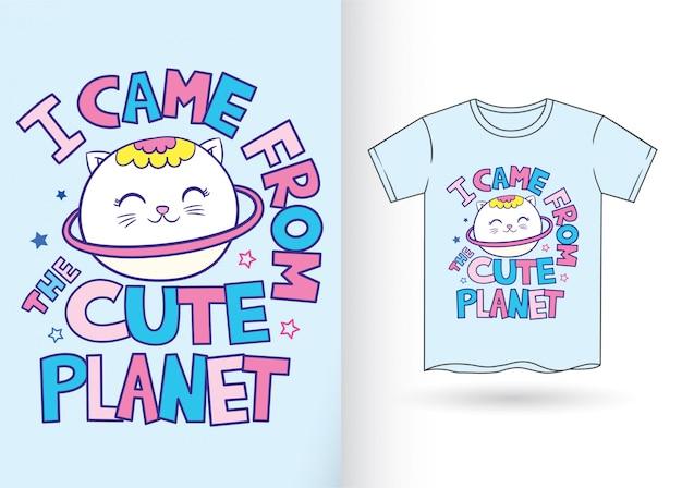 Historieta linda del gato del planeta para la camiseta