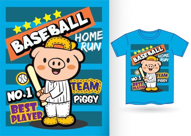 Historieta linda del jugador de béisbol del cerdo para la camiseta