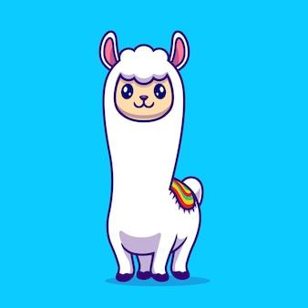 Historieta linda de la llama de la alpaca. concepto de icono de naturaleza animal aislado. estilo de dibujos animados plana