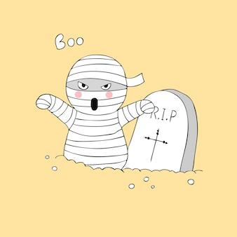Historieta linda momia de halloween y el vector de graves.