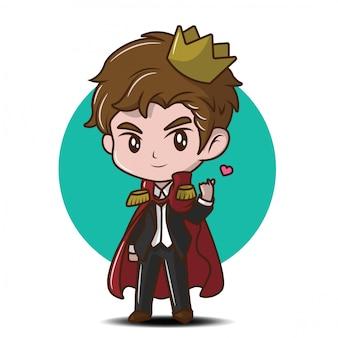 Historieta linda del príncipe joven., concepto de dibujos animados de cuento de hadas.