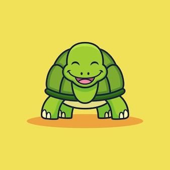 Historieta linda de la tortuga. ilustración de icono de vector de animal, aislado en vector premium