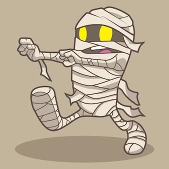 Historieta linda del vector de halloween de la momia