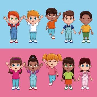 Historieta linda y feliz de los niños sobre fondo colorido