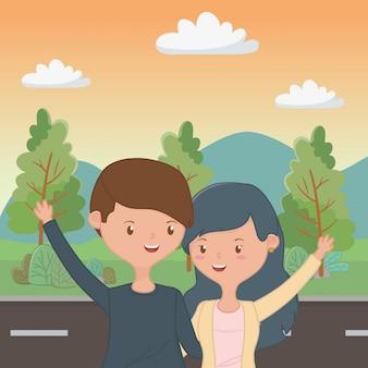 Historieta del muchacho y de la muchacha del adolescente