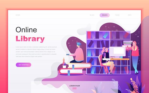 Historieta plana moderna de la biblioteca en línea