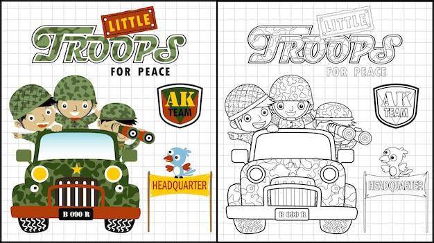 Historieta de tropas divertidas en vehículo militar