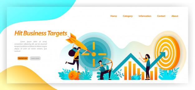 Hit objetivo de negocios. objetivos de logro de tiro con arco con estrategia y enfoque en datos gráficos y análisis. plantilla web de la página de destino