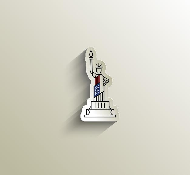 Hito de la estatua de la libertad de estados unidos. ilustración de vector de américa patriótica