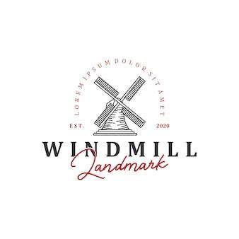 Hito del logotipo del molino de viento holandés, con arte lineal de estilo vintage.