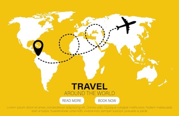 Hitos en el mundo. viaja al mundo. plano