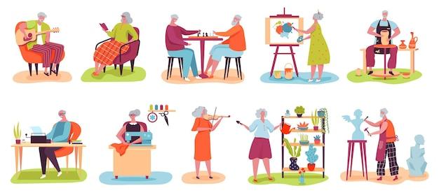Hobby de personas mayores hombres y mujeres mayores juegan al ajedrez leer libro pintura jardinería conjunto de vectores