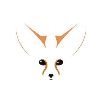 Hocico, ojos y oídos de fennec. ilustración de vector de contorno.