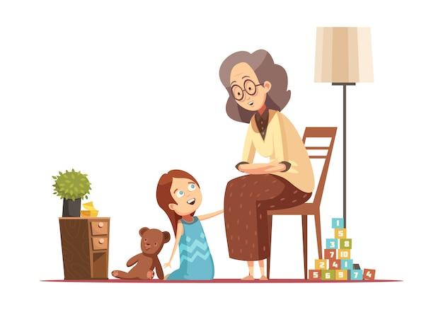 Hogar de la abuela que habla a la nieta pequeña con el ejemplo retro del vector del cartel de la historieta del carácter de la mujer mayor del peluche