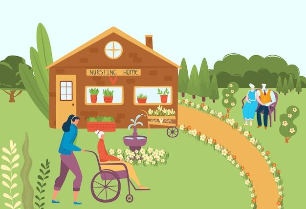 Hogar de ancianos, anciano en silla de ruedas con sus cuidadores de enfermería y personas mayores jubiladas en el banco, casa social con iluminación plana.