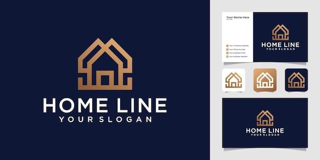 Hogar creativo simple con plantilla de logotipo de línea elegante y tarjeta de visita