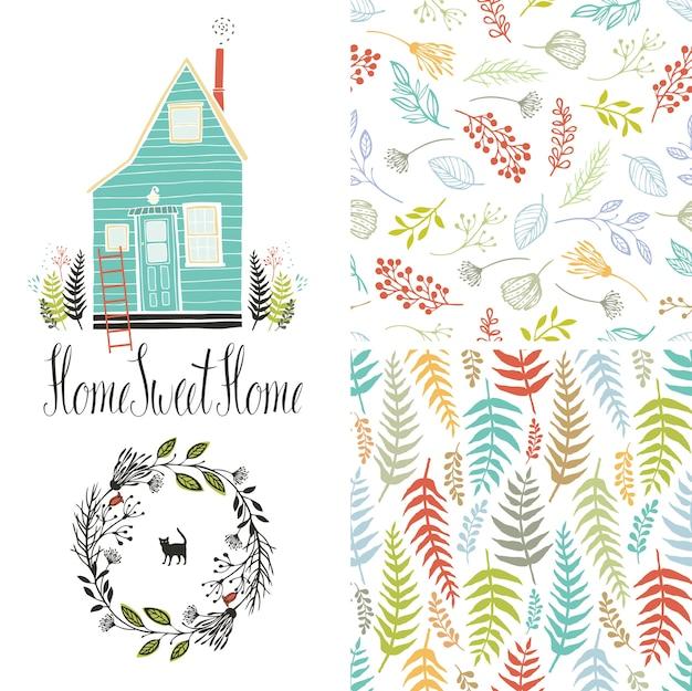 Hogar dulce hogar, patrones de helecho floral y marco redondo