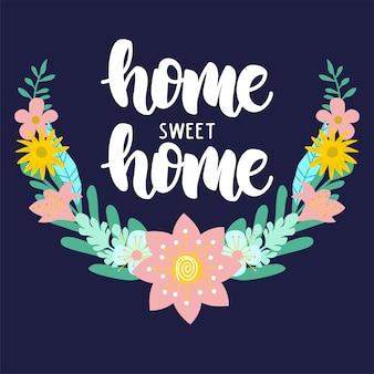 Hogar dulce hogar wreth insignia de la flor