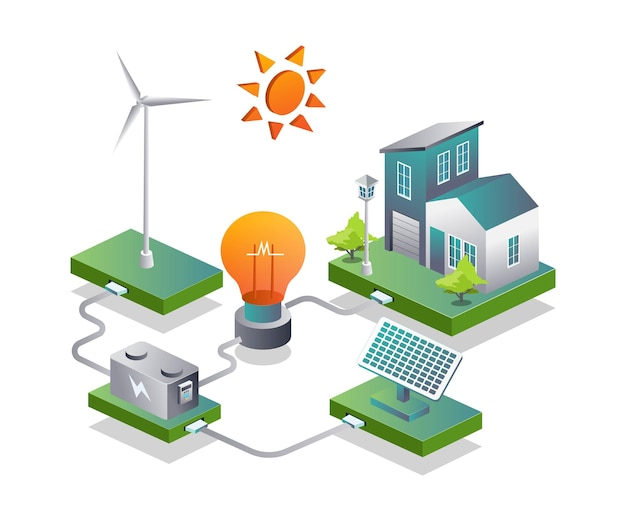 Hogar inteligente con paneles solares y batería de bombilla