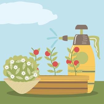 Hogar jardín flor tomates rociador arbusto naturaleza ilustración