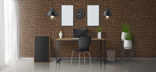 Hogar, lugar de trabajo en la oficina, diseño minimalista de vectores realistas en 3d o interior de estilo loft con computadora portátil en la mesa de trabajo, cuadros en blanco, marcos de fotos en la pared de ladrillos, lámparas colgantes, macetas de flores