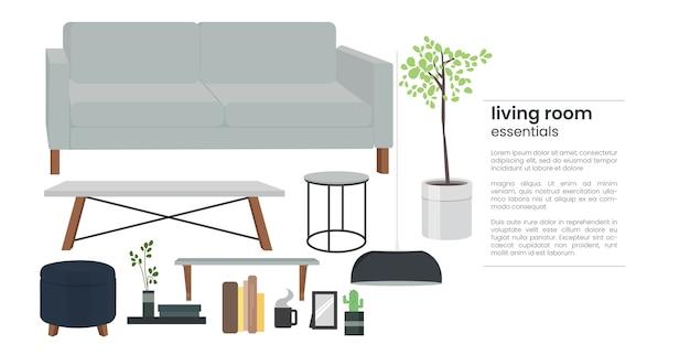 Hogar moderno interior esencial de la sala de estar