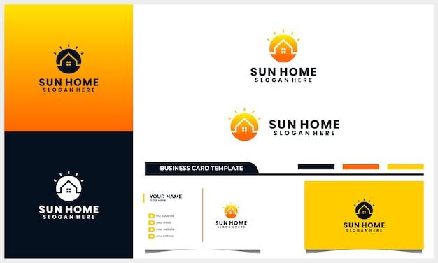 Hogar o casa con logotipo de sol, amanecer, atardecer y plantilla de tarjeta de visita