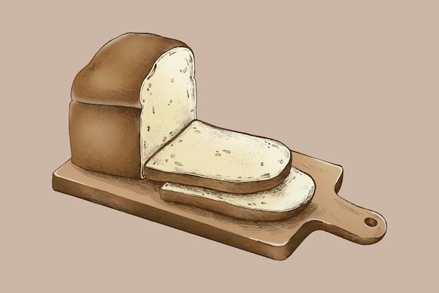 Hogaza de pan dibujada a mano sobre una tabla de cortar
