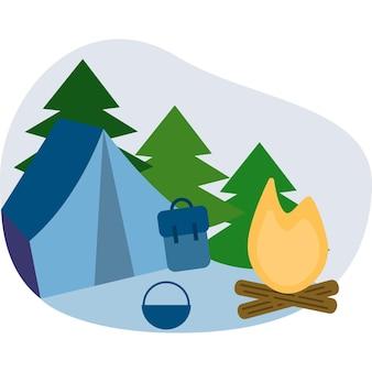 Hoguera de campamento en el bosque vector logo icono