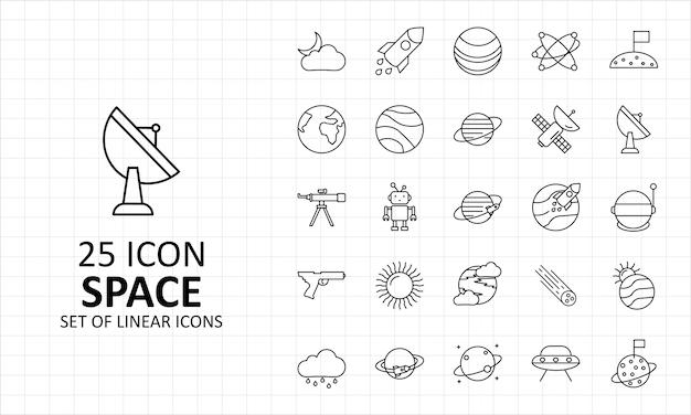 Hoja de 25 iconos de espacio pixel perfect