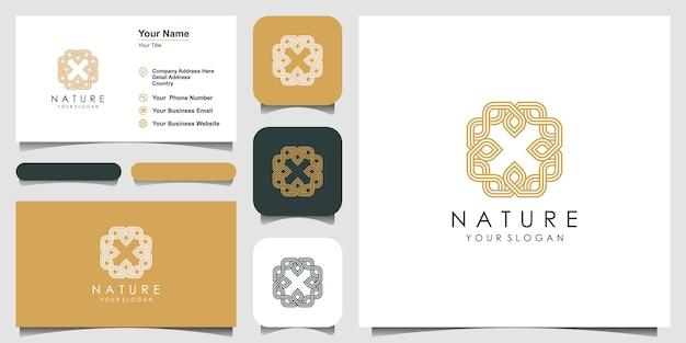 Hoja de adorno con estilo de arte lineal. los logotipos de la letra x del espacio negativo se pueden usar para spa, salón de belleza, decoración, boutique. tarjeta de visita