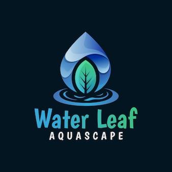 Hoja de agua natural, logotipo de gota de agua, plantilla de vector de logotipo de gradiente de hojas frescas