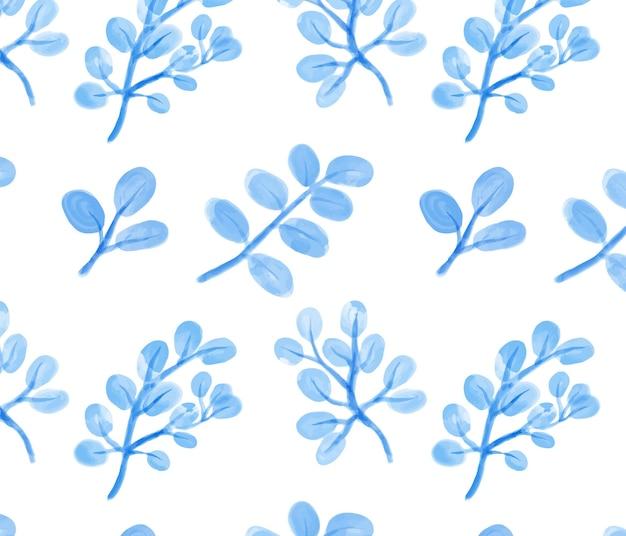 Hoja azul acuarela de patrones sin fisuras