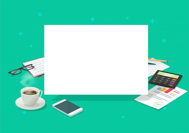 Hoja en blanco en el escritorio de la mesa de trabajo para copia espacio aviso de texto o mensaje de anuncio de escritorio página de lista vacía isométrica de dibujos animados