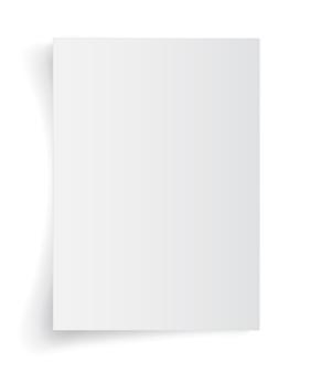 Hoja en blanco de papel blanco con sombra, plantilla para su. conjunto.