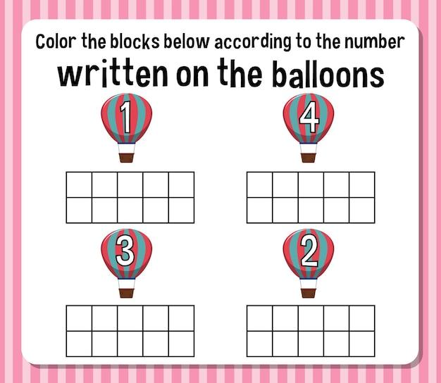 Hoja de cálculo de números de conteo de matemáticas