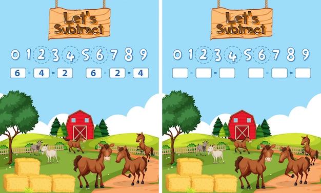 Hoja de cálculo de resta matemática tema de la granja
