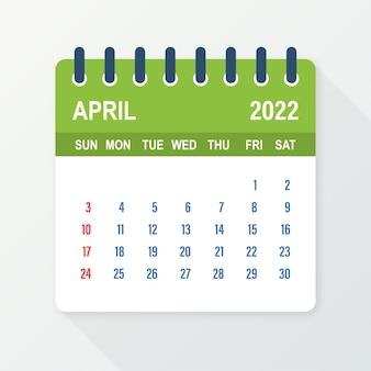 Hoja de calendario de abril de 2022. calendario 2022 en estilo plano. ilustración vectorial.