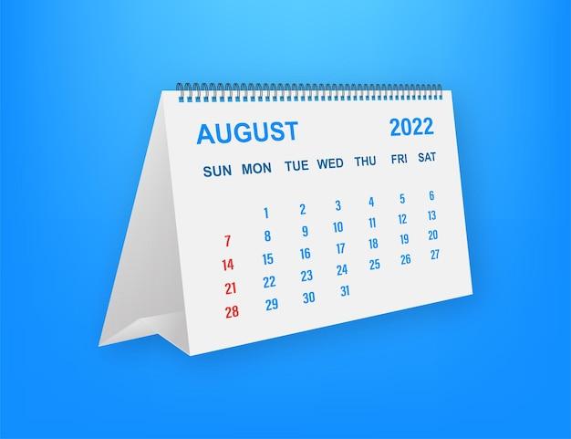 Hoja de calendario agosto de 2022. calendario 2022 en estilo plano. ilustración vectorial.