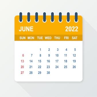 Hoja de calendario de junio de 2022. calendario 2022 en estilo plano. ilustración vectorial.