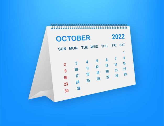 Hoja de calendario de octubre de 2022. calendario 2022 en estilo plano. ilustración vectorial.