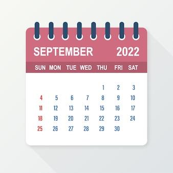 Hoja de calendario de septiembre de 2022. calendario 2022 en estilo plano. ilustración vectorial.