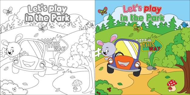 Hoja para colorear imprimible, dibujos animados de animales jugando en el parque