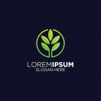 Hoja creativa logo agricultura moderna