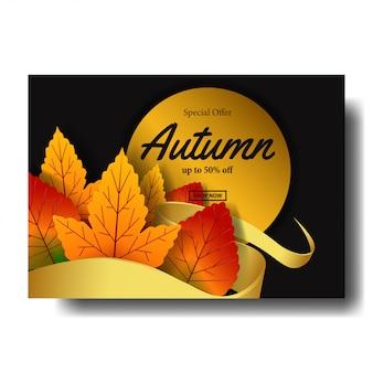 Hoja de otoño caída plantilla de oferta de venta