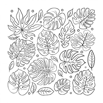 Hoja doodle dibujado a mano