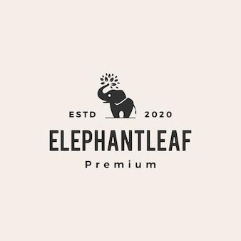 Hoja de elefante deja árbol vintage logo icono ilustración